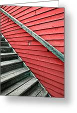 Wooden Steps Against Colourful Siding Greeting Card