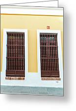 Wooden Windows In Old San Juan, Puerto Rico Greeting Card