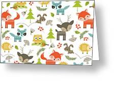 Woodland Animals Greeting Card by Tiffany Dawn Smith