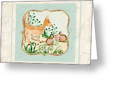 Woodland Fairy Tale - Deer Fawn Baby Bunny Rabbits In Forest Greeting Card