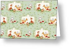 Woodland Fairy Tale - Mint Green Sweet Animals Fox Deer Rabbit Owl - Half Drop Repeat Greeting Card