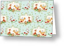 Woodland Fairy Tale - Sweet Animals Fox Deer Rabbit Owl - Half Drop Repeat Greeting Card