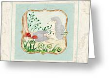 Woodland Fairy Tale - Woodchucks In The Forest W Red Mushrooms Greeting Card