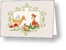 Woodland Fairytale - Grey Animals Deer Owl Fox Bunny N Mushrooms Greeting Card