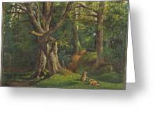 Woodland Scene With Rabbits Greeting Card