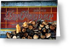 Woodpile With Taste - Dr Pepper Rustic Antique Red Country Southwest Greeting Card