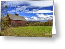 Woodstock Vermont Old Red Barn In Autunm Greeting Card