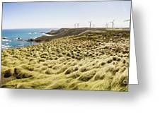 Woolnorth Wind Farm And Ocean Landscape Tasmania Greeting Card