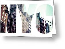 Word Nyc Manhattan Skyline At Sunset, New York City  Greeting Card