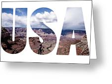 Word Usa Grand Canyon National Park, Arizona  Greeting Card