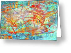 Work 00099 Abstraction In Cyan, Blue, Orange, Red Greeting Card by Alex Hall