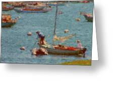 Work These Sails Honey Boothbay Harbor Maine Greeting Card