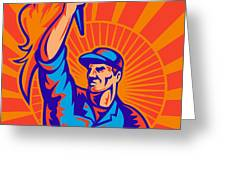 Worker Carrying Flaming Torch Sunburst Greeting Card