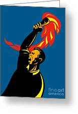 Worker With Torch Greeting Card