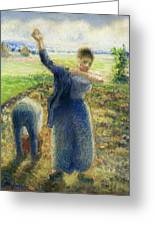 Workers In The Fields 1896-97 Camille Pissarro Greeting Card