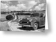 Down On The Farm- International Harvester In Black And White Greeting Card
