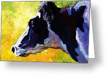 Working Girl - Holstein Cow Greeting Card by Marion Rose