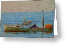 Working Hard Lobster Boat Smugglers Cove Boothbay Harbor Maine Greeting Card