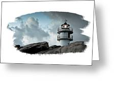 Working Lighthouse Isolated On White Greeting Card