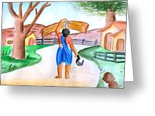 Working Woman Returning Home Greeting Card by Tanmay Singh