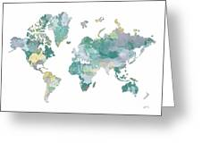 World Map 11 Watercolor Greeting Card