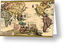 World Map 1707 Greeting Card