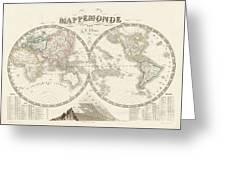 World Map - 1842 Greeting Card