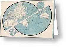 World Map - 1857 Greeting Card