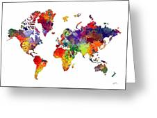 World Map 8 Watercolor Print  Greeting Card