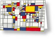 World Map Abstract Mondrian Style Greeting Card by Michael Tompsett