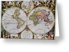 World Map, C1690 Greeting Card