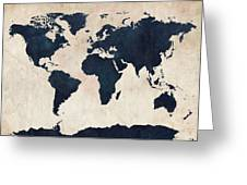 World Map Distressed Navy Greeting Card by Michael Tompsett