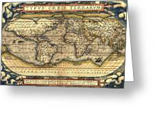 World Map From The Theatrum Orbis Terrarum 1570 Greeting Card by Pg Reproductions