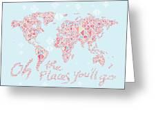 World Map Geometric Pink Mint  Greeting Card