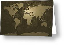 World Map Gold Greeting Card by Michael Tompsett