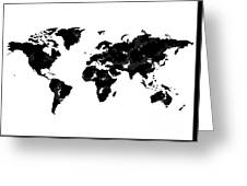 World Map In Black And White Greeting Card