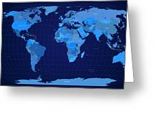 World Map In Blue Greeting Card