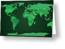 World Map In Green Greeting Card by Michael Tompsett