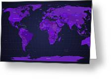 World Map In Purple Greeting Card by Michael Tompsett