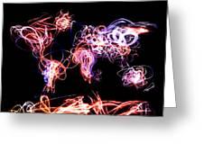 World Map Light Writing Greeting Card