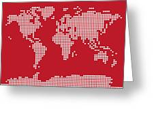 World Map Love Hearts Greeting Card by Michael Tompsett