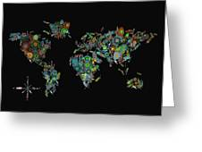 World Map Mandala Feathers 2 Greeting Card