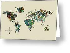 World Map Mandala Feathers 3 Greeting Card