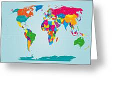 World Map  Greeting Card by Michael Tompsett