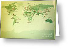 World Map Miller Cities Straight Pin Vintage Greeting Card