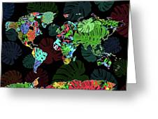 World Map Monstera Leaves  8 Greeting Card
