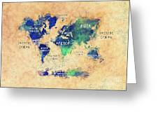 World Map Oceans And Continents Art Greeting Card