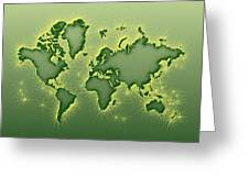 World Map Opala Square In Green And Yellow Greeting Card