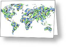 World Map Organic Green And Blue Greeting Card