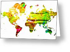 World Map Painted Greeting Card